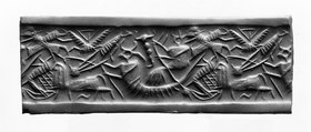 Cylinder seal with god in boat from Tell Asmar, Early Dynastic III (c. 2500-2350 BC)