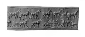 Cylinder seal with herd from Khafajeh, Jemdet Nasr (c. 3000-2800 BC)