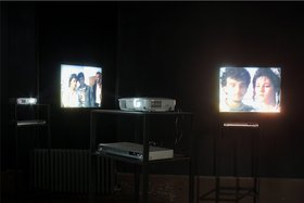 Adrian Paci, Last Gestures, 2009, installation detail, The Mediterranean Approach, 2011, 4 channel video installation, rear projection, loop, no sound.