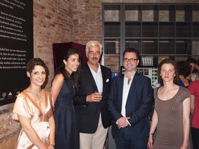 Launch of www.ibraaz.org and private view of The Future of a Promise in Venice, June 1st, 2011.  From left to right: Coline Milliard (Managing Editor), Lina Lazaar (Associate Editor), Kamel Lazaar (Founder, Kamel Lazaar Foundation and Patron of Ibraaz Publishing), Anthony Downey (Editor) and Lois Olmstead (On-Line Content Manager)