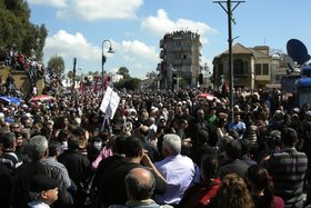 Demonstration by Turkish Cypriots, April 2011, photograph. Courtesy of Basak Senova.