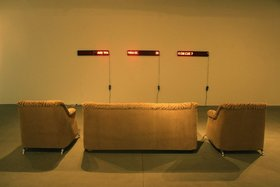 UBIK, Autosuggestion, 2012, Led ticker tape, sofa, dimensions variable. Courtesy Maraya Art Centre, Sharjah. © the artist.