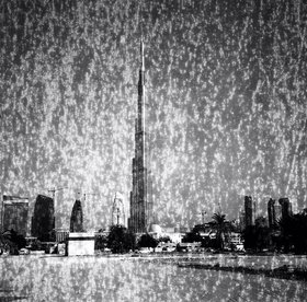 Ziad Antar, Burj Khalifa I, from the Expired series, 2010, black & white silver print photograph, 120 x 120 cm, edition of 5. Courtesy of Selma Feriani Gallery, London