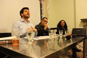 Egyptian Visual Culture in the Context of Conflict and Unrest, left to right: Omar Kholeif, Ahmad Hosni, Dalia Mostafa.