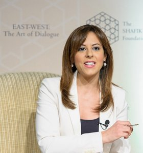 Carina Kamel, Al Arabiya Television, launch of East-West: The Art of Dialogue in London. Courtesy ARTOC Group.