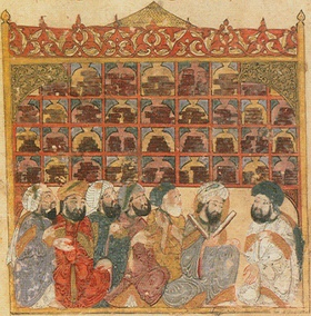 Illustration by Yahyá al-Wasiti, Baghdad, 1237, Scholars at an Abbasid library.