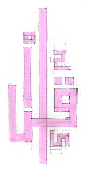 AMBS Architects, 'Ikra' Kufic, 2012, script sketch.