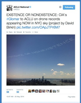 ACLU, tweet with image of Severe Clear: Existence or Nonexistence, 2014.