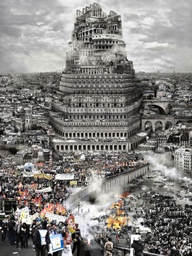 Du Zhenjun, The Tower of Babel: Old Europe, 2010. Variable dimensions, 120 x 160 cm, 180 x 240 cm.