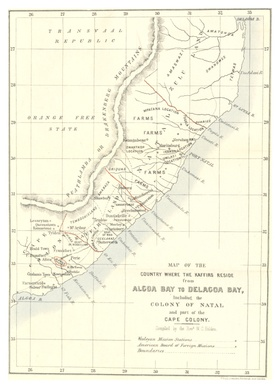 Holden's map of the country where the Kaffirs reside, from Algoa Bay to Delgado Bay (1857)