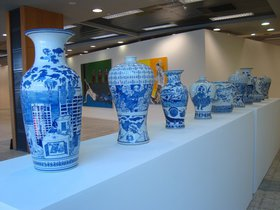 Raed Yassin, Yassin Dynasty (No. 2), 2013. Hand-painted porcelain vases. Variable dimensions.