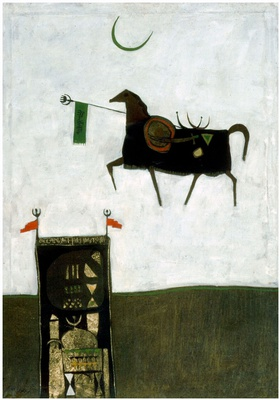Dia Azzawi, Folkloric Mythology, 1966. Oil	on canvas, 100cm x 71cm. Private collection, London.