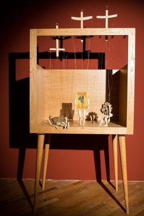 Taus Makhacheva, Way of an Object, 2013. Set of three marionettes, mixed media, dimensions variable.