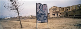 Zalmaï Ahmad, 2003. An advertisement for a weight room and gym in Karte Seh, Kabul.