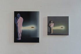 Tala Madani, Rare projection (Modern shit), 2013. Oil on canvas.