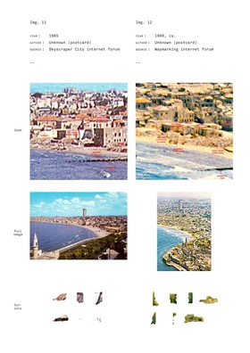 Iso-photographic drawings that piece together cut-outs from uncovered pho- tographs dating from 1917 to the late 1970s. Included here are the select photographs taken from the vantage point of Jaffa's summit looking to Tel Aviv.