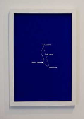 Bouchra Khalili, The Constellation Fig. 3, 2011, from the series The Constellation, silkscreen print mounted on aluminium and framed, 40cmX60cm. Courtesy of the artist and Galerie Polaris, Paris. Photo by Maya Wilsens.