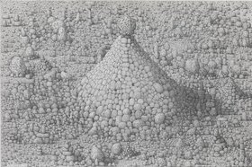 Paul Noble, Cathedral, 2011, Pencil on paper, 19 7/8 x 30 inches (50.5 x 76.3 cm). © Paul Noble and Gagosian Gallery.