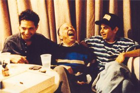Caveh Zahedi with his father and brother on Ecstasy in I Don't Hate Las Vegas Anymore, 1995. Courtesy of the artist.