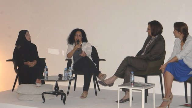 Where do we go from here? Women in Contemporary Arab Art panel, Maisoon Al Saleh, Sama Alshaibi, Salwa Mikdadi, Isabella Ellaheh Hughes, Traffic, Dubai, 2012. Courtesy of the U.S. Embassy Abu Dhabi, Public Affairs Section.