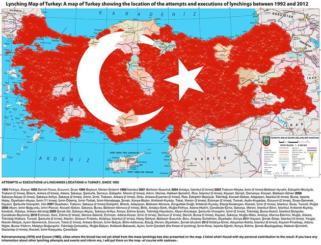 Hakan Akçura, Almost over Lynching Map of Turkey, a map of Turkey showing the location of the attempts and executions of lynchings between 1992 and 2012, 17th of January 2010, published in a Turkish Newspaper. Courtesy and © www.open-flux.blogspot.com.
