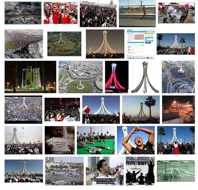 Screenshot of a Google image search for Pearl roundabout. November 2012.