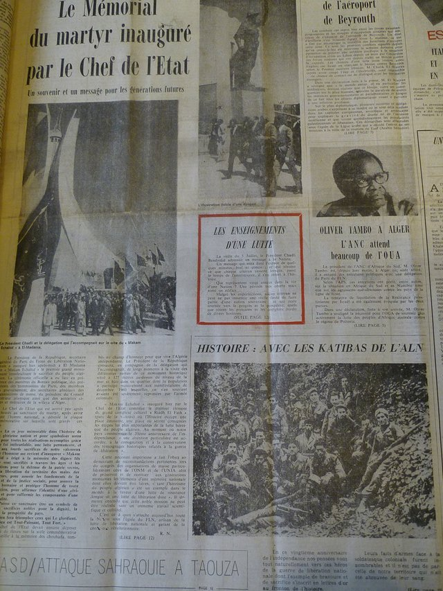 Reports of the unveiling. El Moudjahid, Front Page, 6th July 1982.