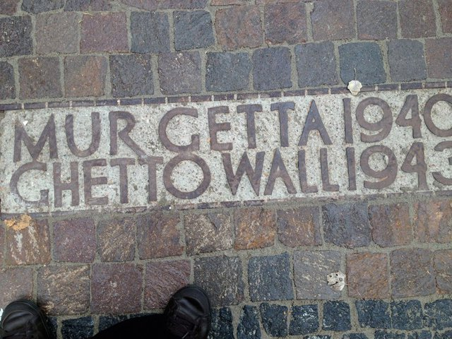 The marked line of the Ghetto Wall, Warsaw.