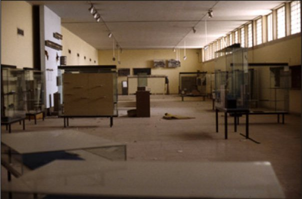 Sumerian gallery with display cases emptied for protection before the war.