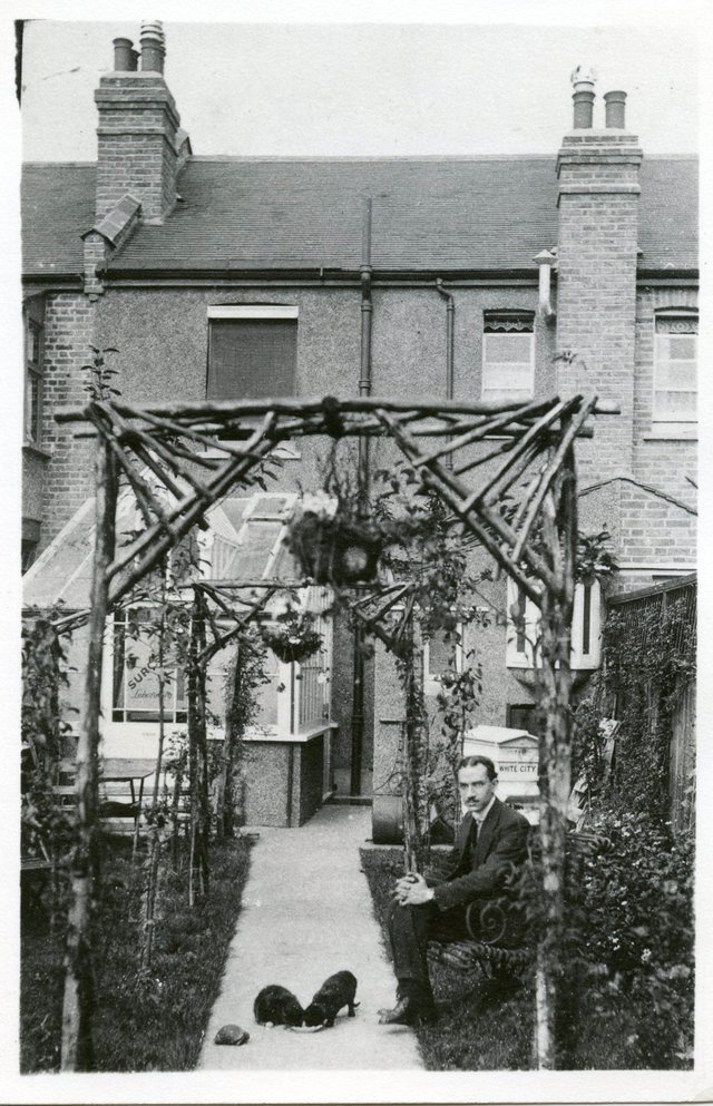 The author's maternal grandfather, Dr. Ahmed Zaky Abushady, in the backyard of his home and research laboratory 'Rameses Villa', London, September 1917.