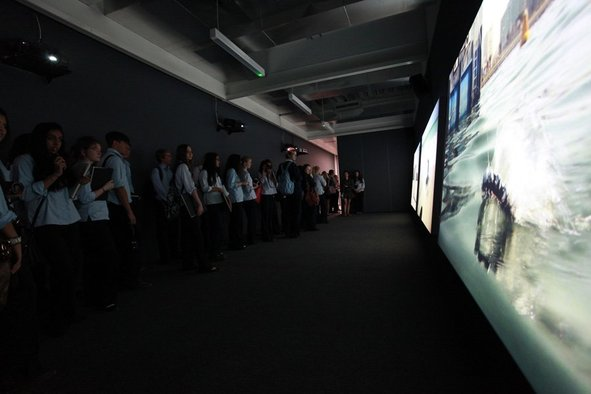 <p>Nevin Aladağ</p><p><em>Session</em>, 2013</p><p>Three-channel HD colour video projection with sound</p><p>Commissioned by Sharjah Art Foundation</p><p>Image courtesy of Sharjah Art Foundation</p>