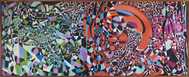 <p>FahreInissa Zeid, <em>Break the Atom and Vegetal Life</em>, 1962. Painting, oill on canvas, 210 x 540 cm.</p><p>Collection of Zafer Yildirim.</p>