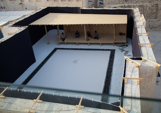 <p>Taro Shinoda, <em>Karesansui</em> , 2015. Site-specific installation with wooden platform. 3.6 x 17 x 9 m. Commissioned by Sharjah Art Foundation. Courtesy Taka Ishii Gallery, Tokyo, and the artist.</p><p>Installation view, Sharjah Biennial 12. Image courtesy of Sharjah Art Foundation. Photo by Deema Shahin.</p>