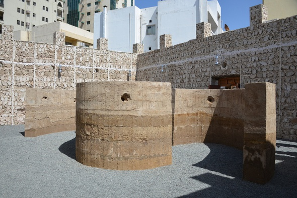 <p>Damiàn Ortega, <em>Talking Wall</em> , 2015. Wooden cast, clay, sand, gravel, hay rocks, Styrofoam ear pieces and flexible PVC pipes Dimensions variable. Commissioned by Sharjah Art Foundation. Courtesy kurimanzutto, Mexico City, and the artist.</p><p>Installation view, Sharjah Biennial 12. Image courtesy of Sharjah Art Foundation. Photo by Alfredo Rubio.</p>