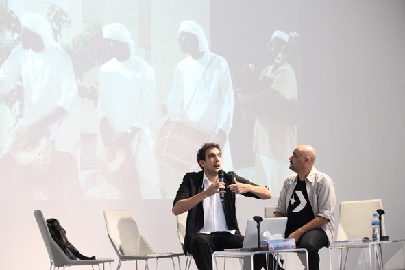 "<p>Keynote #3: Tarek Atoui in conversation with Tarek Abou El Fetouh, March Meeting 2014, Sharjah Art Foundation Art Spaces.</p><p><span style=""color: #000000; font-family: arial, helvetica, sans-serif; font-size: 12px; line-height: 18px;"">Image courtesy of Sharjah Art Foundation.</span></p>"