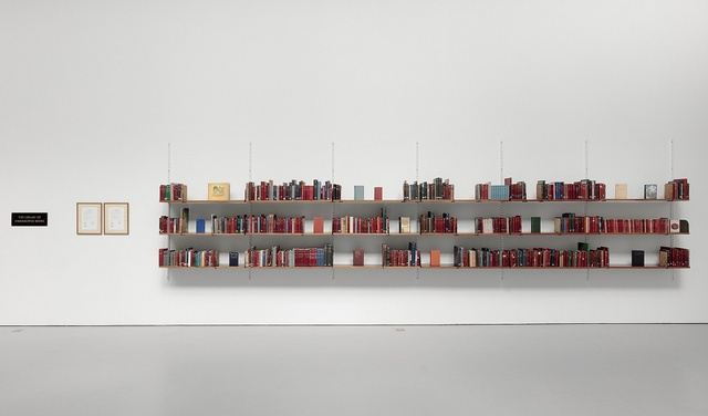 <p>Meriç Algun Ringborg, <em>The Library of Unborrowed Books</em>, 2012-. Site-specific installation with books, shelves, brass sign, two contracts. Section I: Stockholms Stadsbibliotek (Stockholm Public Library), 2012 at Konstakademien, Stockholm. </p><p>Photo credits: Jean-Baptiste Béranger. Copyright the artist.</p>