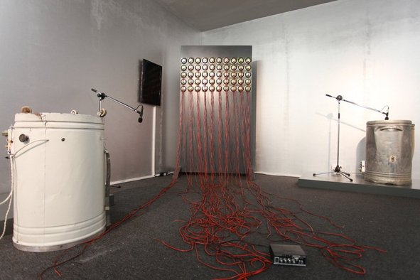 <p>Magdi Mostafa</p><p><em>Sound cells : FRIDAYS</em>, 2010</p><p>Mixed-media sound installation, washing machines, microphones, mic stands, speakers, mixer and sound system</p><p>Dimensions variable</p><p>Courtesy of the artist</p><p>Image courtesy of Sharjah Art Foundation</p>