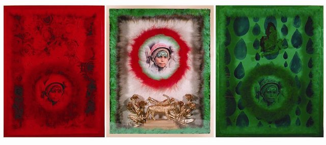 <p>Behrang Samadzadeghan<br /> <em>My Superhero # 1</em>, 2010<br /> Mixed media, triptych</p> <p>46 x 57 cm each <br /> Courtesy of the artist and Aaran Gallery, Tehran</p>