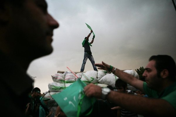 <p>Newsha Tavakolian, 2011</p><p>Photograph</p><p>Courtesy of the artist</p><p> </p><p>13: Demonstrators during a one million strong march supporting Presidential candidate Mir-Hossein Mousavi.</p>