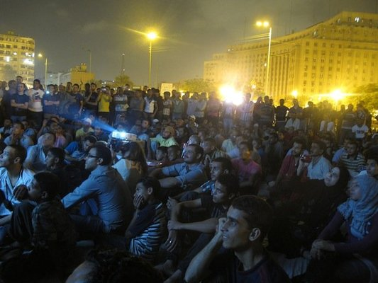<p><em>Tahrir Cinema</em> </p><p>Tahrir Square, Cairo, July sit-in, 2011</p><p>Photograph by Lara Baladi</p>