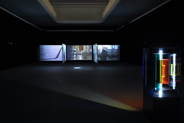 <p>Ergin Çavuşoğlu</p><p><em>Point of Departure,</em> 2006</p><p>Six channel video installation, three channel sound</p><p>Duration: 31:36', continuous loop</p><p>Dimensions variable</p><p>Installation view, Kunstverein Freiburg, 2008</p><p>© Marc Doradzillo</p><p>Courtesy the artist, Rampa, Istanbul and Film and Video Umbrella, London</p>