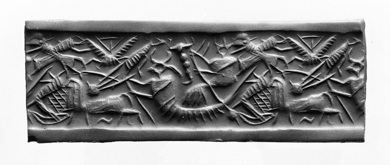 Cylinder seal with god in boat from Tell Asmar Early Dynastic III (c. 2500-2350 BC) limestone 3.2 × 2.2 cm Photography: Henri Frankfort Courtesy of the Oriental Institute Museum, Chicago  Artefact feared to be stolen by looters
