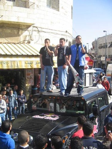 G-Town performing on top of the Hummer, East Jerusalem, February 2007 Photograph courtesy of Muhammad Mughrabi, G-Town