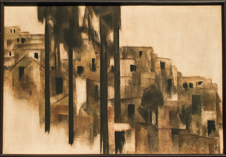 Sohrab Sepehri, Landscape with Houses, 1970-74.