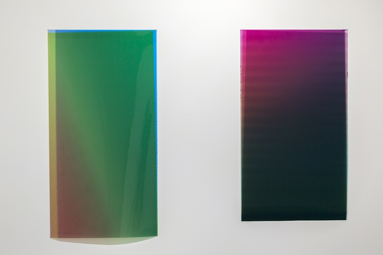 Caline Aoun, (l) Untitled, 2013, unique inkjet print on Permajet transfer film, 610 x 1085 mm. (r) Untitled, 2013, unique inkjet print on Permajet transfer film 610 x 11170.