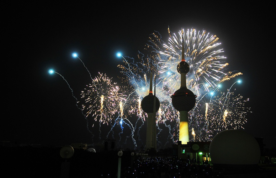 Fireworks during Kuwait 50/20 celebrations, 2011.