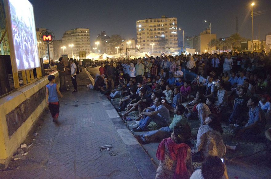 Tahrir Cinema, Tahrir square, Cairo, Egypt, July sit-in 2011.