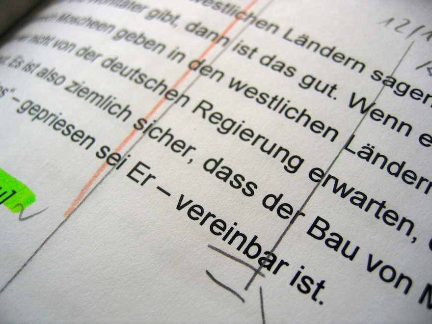 Work photo, Hamburger Lektionen (Hamburg Lectures), a film by Romuald Karmakar, Germany 2006. We see an excerpt of the director's shooting script used in the editing room.