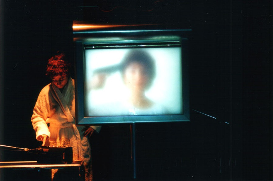 Rabih Mroué and Lina Georges Saneh, Biokraphia, 2002. Performance, Contemporary Arab Representations, Beirut / Lebanon 15 September–24 November 2002, Witte de With Center for Contemporary Art, Rotterdam.
