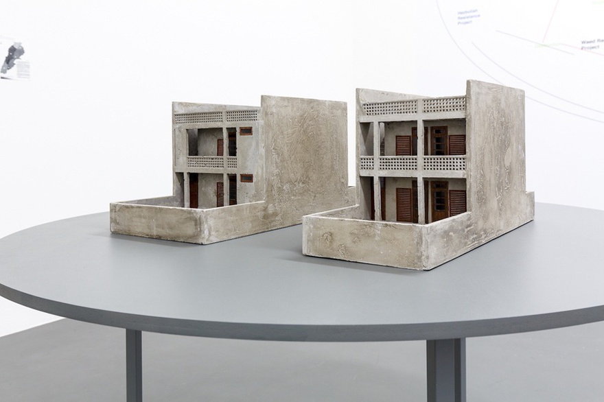 Marwa Arsanios, After Doxiadis, a proposal for a new social housing project, 2013-ongoing, concrete models, installation view, Witte de With Center for Contemporary Art 2016.